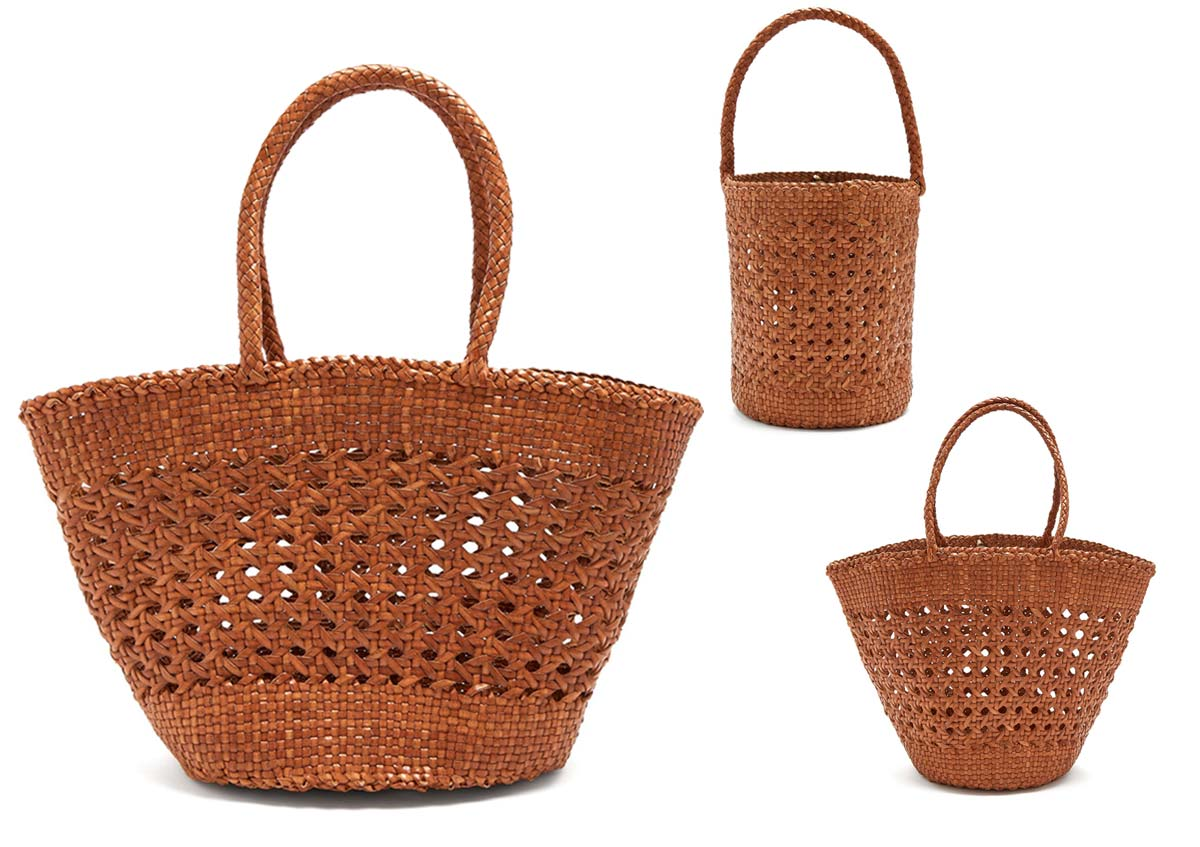 Market Cannage woven-leather basket bags