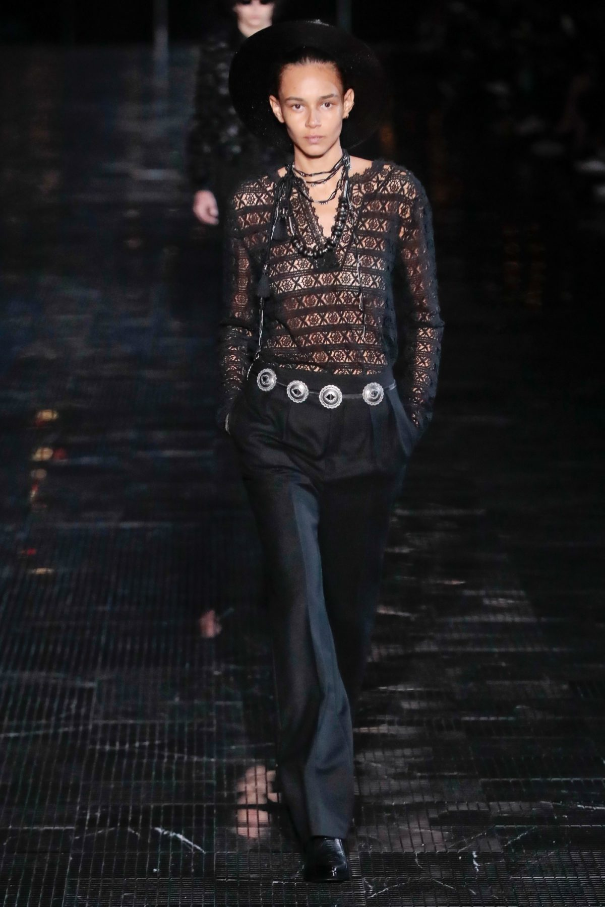 ed9a953d0ab Saint Laurent's design director Anthony Vaccarello presented the Spring 2019  men's collection (with a few women's looks) in New Jersey's Liberty State  Park.